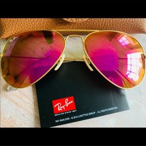 Ray Ban Aviator Sunglasses Pink Gold 58mm NWOT